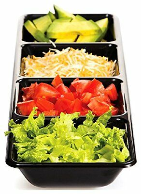 New Rectangular 4 Compartment Plastic Food Tray, Snack, Buffet, Party, Potluck