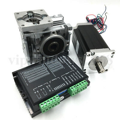 Worm Gearbox Nema23 L76mm Stepper Motor Driver Kit Speed Reducer CNC Router Set