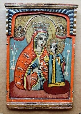 Antique 19th C. Greek Orthodox Christian Icon OUR LADY OF THE UNFADING FLOWER