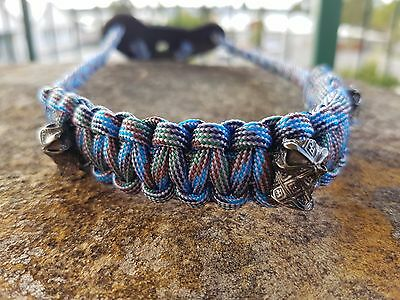 Archery Bow Sling 550 Paracord Blue gray camo + 3 zipper pulls