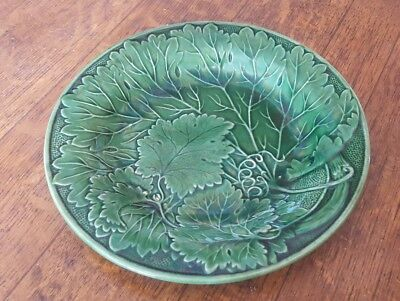 English Majolica Grape Vine Green Plate Mid Nineteenth Century Greenware