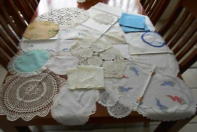 Bulk Lot of 20 x DOILIES, RUNNERS, NAPKINS Crochet, Embroidery, Damask, Lace