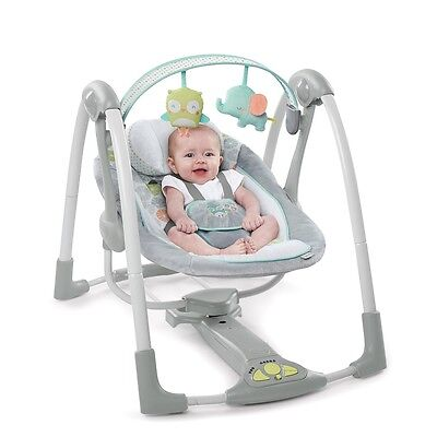 Ingenuity Hoots and Hugs Swing, Plush Baby Napper With Sounds & Lights