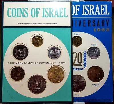1967 & 1968 Coins Of Israel 6-Coin Sets Uncirculated