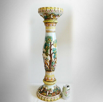 Capodimonte vintage tall pedestal with victorian scenes - FREE SHIPPING