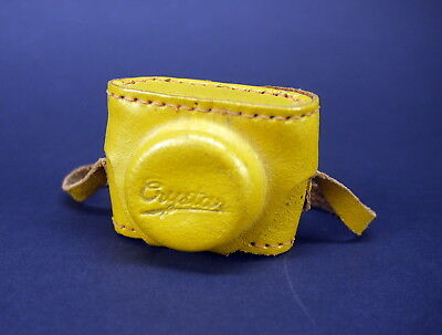 TINY Vintage Crystar Miniature Spy Film Camera Made in Japan Yellow Leather Case
