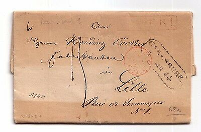 1844 Pre-stamp letter Carlsruhe, Germany to Lille, France (embossed seal, etc)