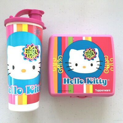 Tupperware Hello Kitty Retro 16oz.Tumbler + Sandwich Keeper Pink Set New So CUTE