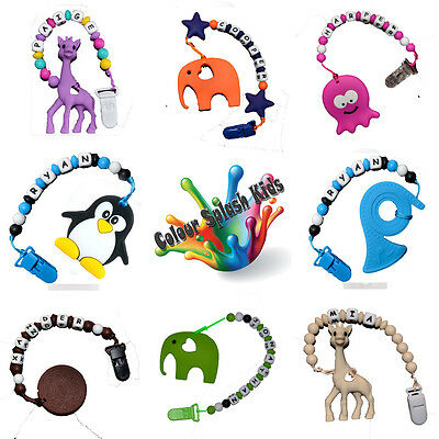 Hand Made PERSONALISED BPA Free Silicone Dummy Clip Chain teether tether