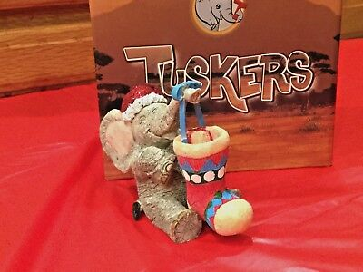 Tuskers Christmas Stocking Filler Fun Elephant Figurine By Country Artist .NIB