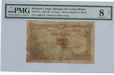 Belgian Congo 5 Francs 1929-1930 PMG 8 NET Tape Repair P-8e