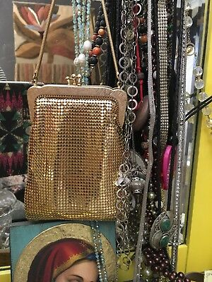 Vintage Gold glow mesh long line evening bag clutch purse coin phone
