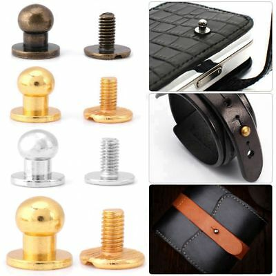 20pcs Copper Round Head Stud Screwback Leather Craft Bag Screw Nail Rivet Button