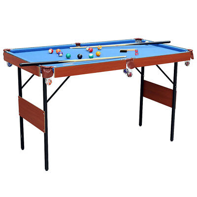 "55"" Folding Kids Game Table Pool Billiard With Ball Cue Set Snooker Table Indoor"