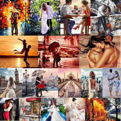 Couple Lover DIY Paint By Number Kit Digital Oil Painting Linen Home Hall Decor