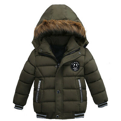 Kids Boys Quilted Front Button Pockets Zipped Up Padded Jacket Parka Outwear