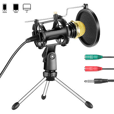Neewer Condenser Microphone with Mic Stand and Pop Filter for iPhone Android PC