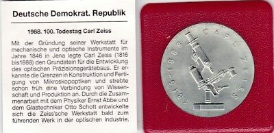 20 Mark DDR 1988 Carl Zeiss 100. Todestag Silber J.1621