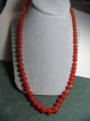 Vintage Chinese 8mm Carnelian Hand Knotted Bead Necklace Silver Filigree Clasp