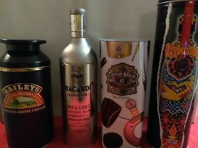 lots of 4 canister containers Bacardi Superior Chivas Regal Kahlua Baileys Tin