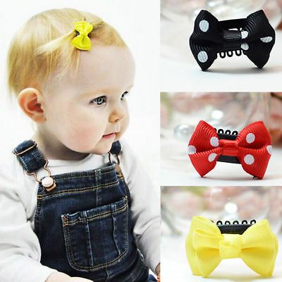 Hot 10pcs Kids Baby Girl's Bow Ribbon Hair Bow Mini Hair Clip Hairpins