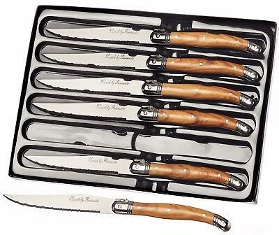 Set of 6 Laguiole Steak Knives With Wood Coloured Effect Handles