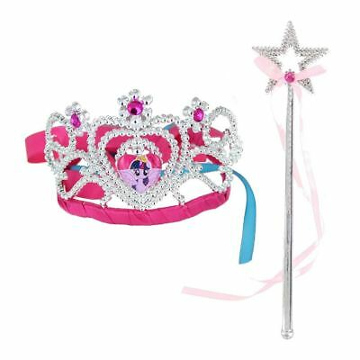 Girls My Little Pony Sparkly Tiara & Wand Fancy Dress Up Play Accessories Set