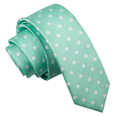 DQT Woven Polka Dot Mint Green Formal Casual Mens Skinny Tie