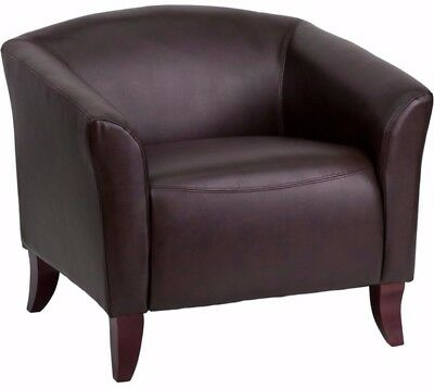 Hercules Imperial Classic Brown Leather Visitor Chair Home Office Furniture