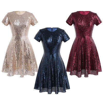 Women Sequined Short Maxi A-line Dress Cocktail Party Evening Wedding Bridesmaid