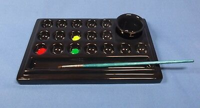 Black Ceramic Artist Paint Palette 17 wells + separate water pot & brush rest