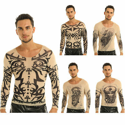 Männer Tattoo-Shirt transparent Herren Langarmshirt Slim Fit Tattoos Unterhemd