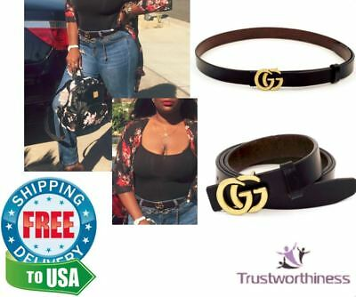 Womens Genuine Leather Black Thin Belt For Jeans 0.9″ Wide with GG metal buckl