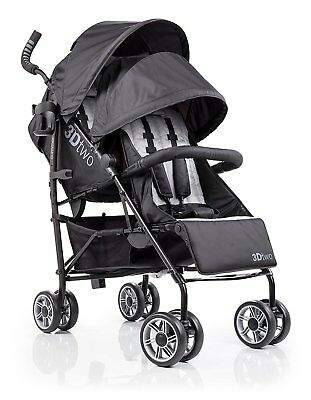 Summer Infant 32183, 3Dtwo Double Convenience Stroller In Black, Gray Squared