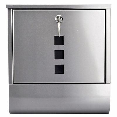 Post Box With Newspaper Holder Stainless Steel Lock Wall Mounted Mail Letter