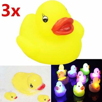 3X Yellow Squeaky Ducks Flashing Rubber LED Colour Light Up Bath Toys For Kid