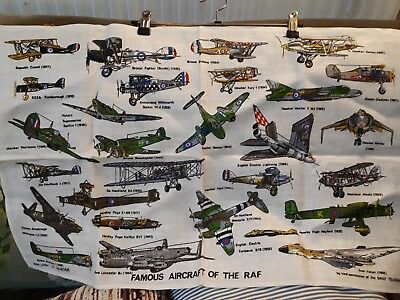 Vintage Ulster linen tea towel WW2 airplanes of the RAF