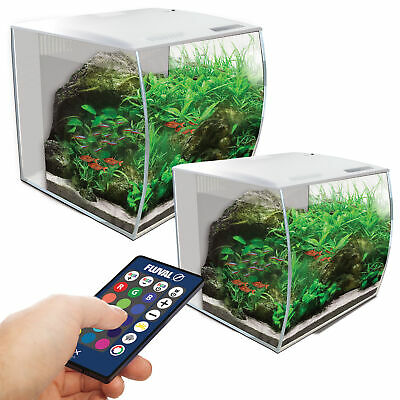 Fluval Flex White LED 34L / 57L Aquarium Nano Bowfront Fish Tank Filter Stand