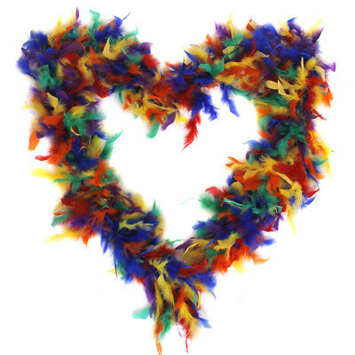 Rainbow Feather Boa 65G Gay Pride Fancy Dress Costume Accessory Multi Coloured