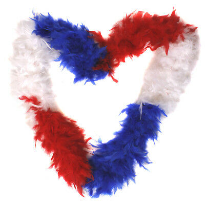 Red White And Blue Feather Boa 65G Supporter Fancy Dress Great Britain France