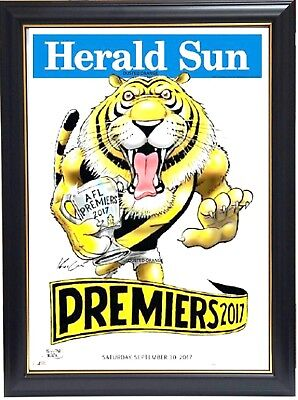 Richmond 2017 Afl Premiers Herald Sun Print Framed - Dustin Martin Mark Knight