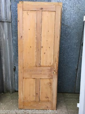 "29""x75 3/4"" Reclaimed Victorian Stripped Pine Four Panel 2 Over 2 Internal Door"