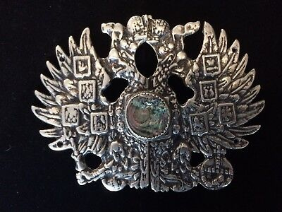 Antique Russian Cossacks White Metal Belt Buckle