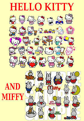 Hello Kitty And Miffy, Pes Embroidery Machine Designs Cd