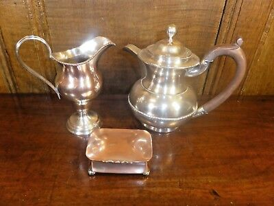 Old Sheffield SILVER PLATE 3 pc SET of SNUFF BOX, HELMET JUG, COVERED JUG - wear