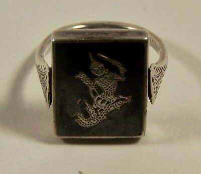 Vintage Genuine SIAM Sterling Silver Niello Flip Ring Size 8-1/2 or 9