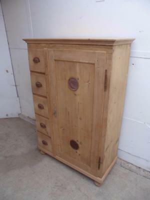 A Vintage Early Victorian Antique/Old Pine 5 Drawer Food Kitchen Cupboard