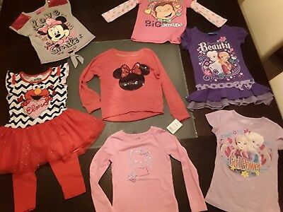 Lot of 5T Girls Clothing Frozen, Hello Kitty, Minnie Mouse, Elmo, Curious George