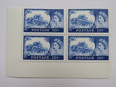 Block of 4x 1968 GB MNH Wilding Castle Stamps 10/- Blue. Cylinder 2 No WMK
