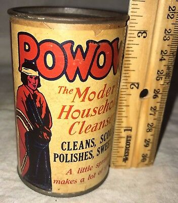 Antique Free Sample Powow Cleaner Cleanser Tin Native American Indian Soap Can